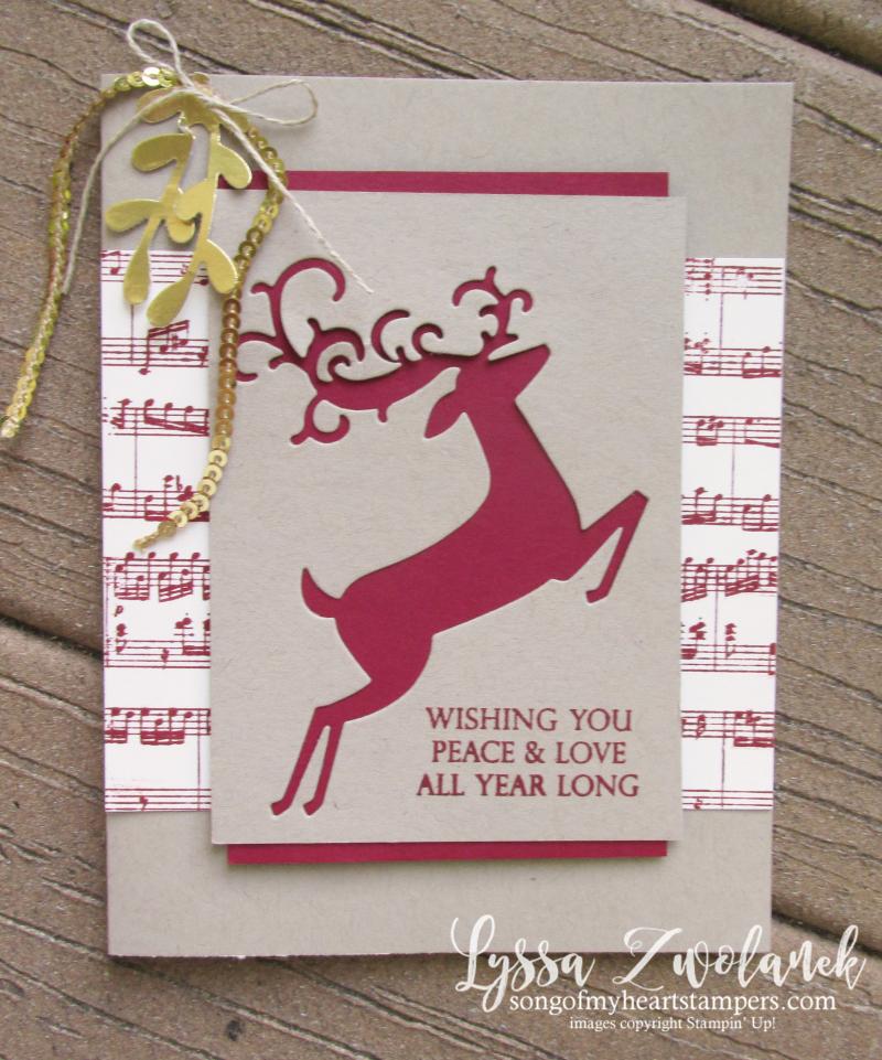 Dashing deer christmas holiday cards rubber stamping DIY stampin up reindeer