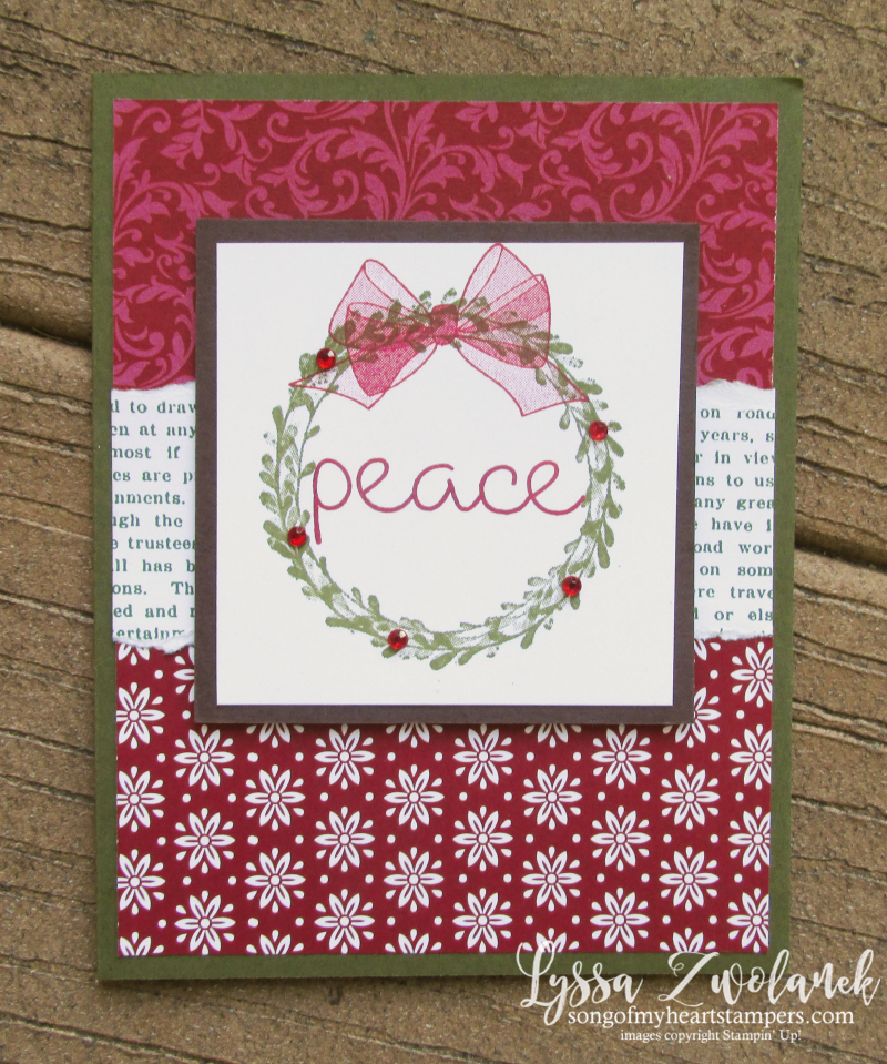 Wishing You Well wreath organdy bow berries peace holiday Christmas Stampin Up rubber stamping DIY cards