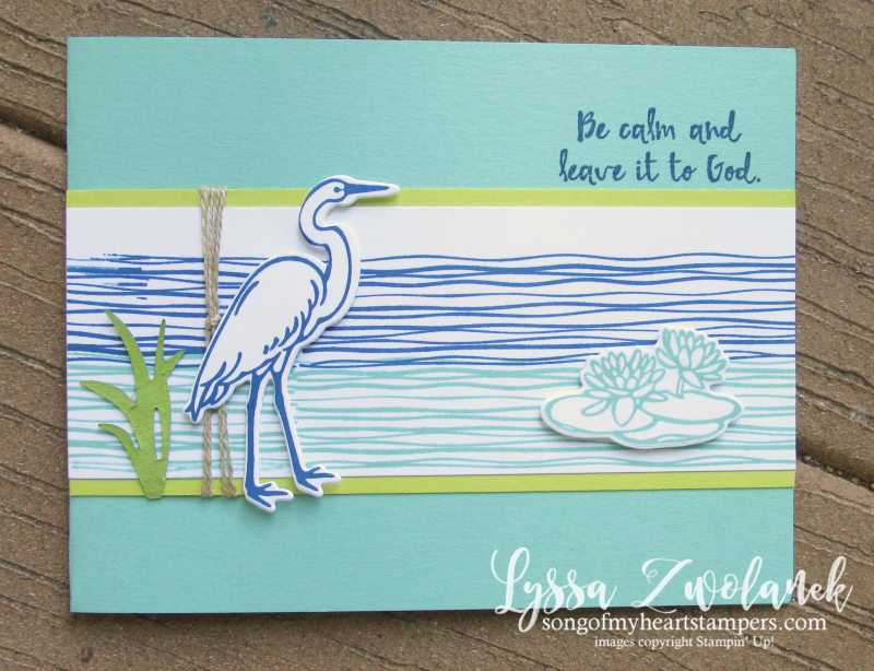 Lilypad Lake blue heron stamp set river water rubber Stampin Up Lyssa