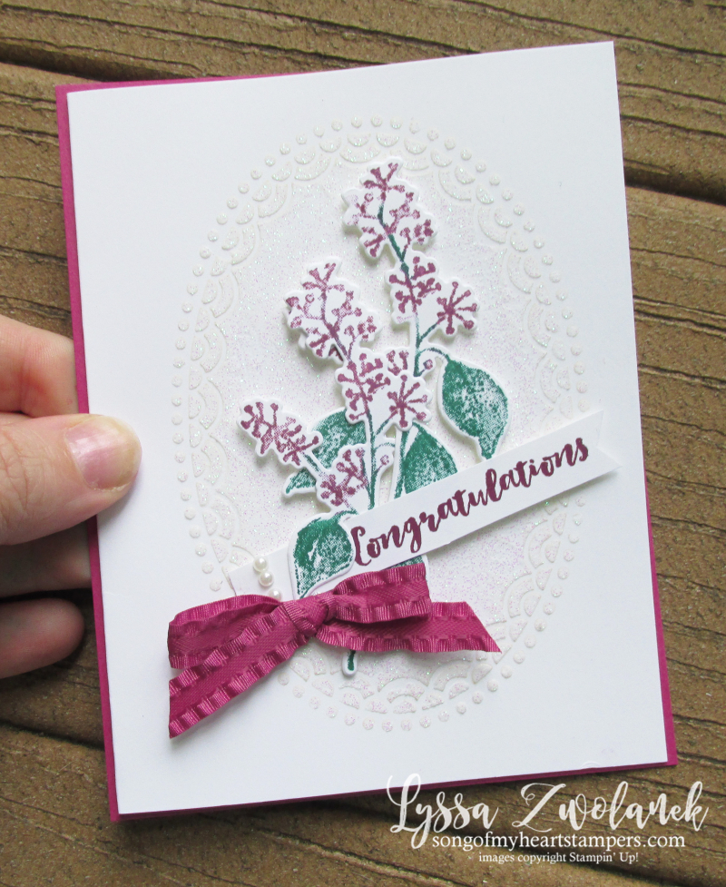 First frost frosted floral bouquet Stampin Up holiday cards holly winter oval embossing paste lace