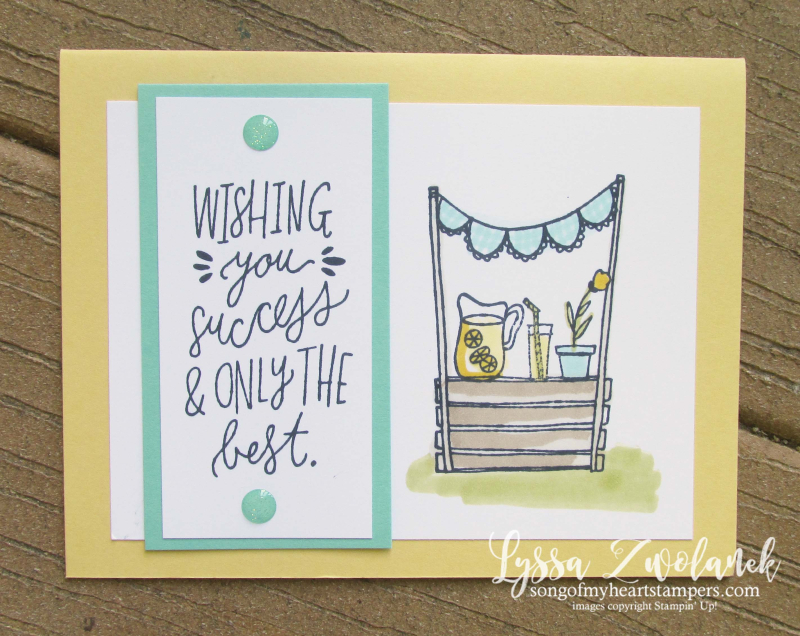 Lemonade sunny days stand stampin Up CAS cards Lyssa sunshine