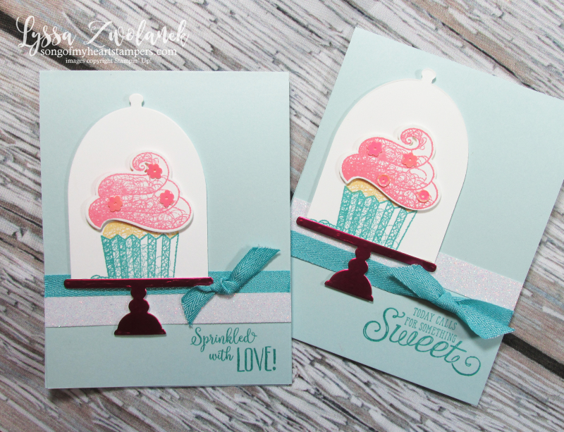 Hello Cupcake Stampin Up more thna words Saleabration 2019 framelits cake stand frosting