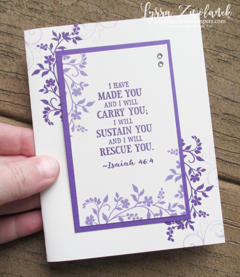 Isaiah scripture verse card Rescue Sustain Bible Hold onto Hop stamp set Stampin Up purple