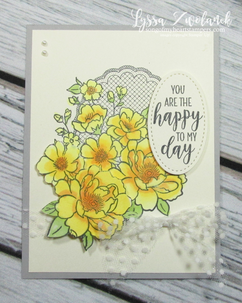 Lovely lattice Stampin Up Lyssa roses song heart doily lace yellow stamping blends