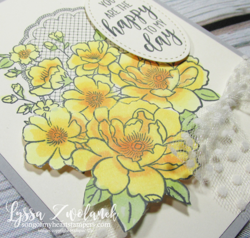 Lovely lattice Stampin Up Lyssa song heart doily lace yellow roses stamping blends
