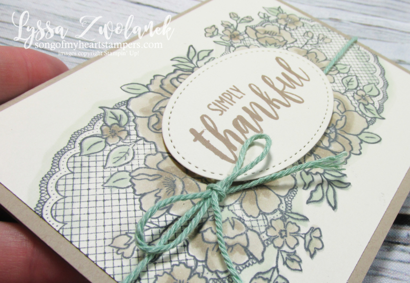 Lovely lattice Stampin Up Lyssa song heart doily lace kraft crumb roses stamping blends
