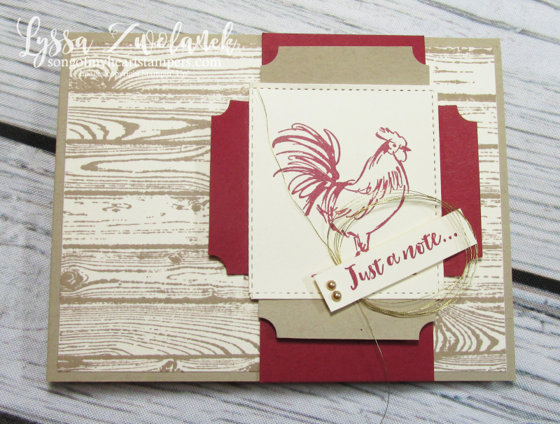 Rooster chicken farm fresh stampin up rubber stamps barn doors wood hen