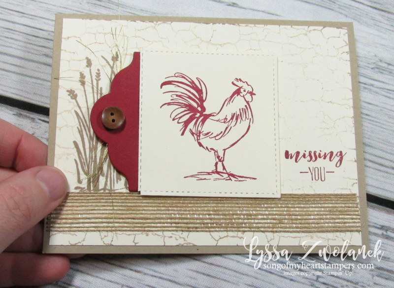 Rooster hen chicken stamps Stampin up farmhouse barn crackle background