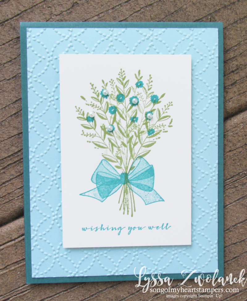 Wishing you well bouquet wreath prgandy bow realistic rubber stamps Stampin Up turquoise