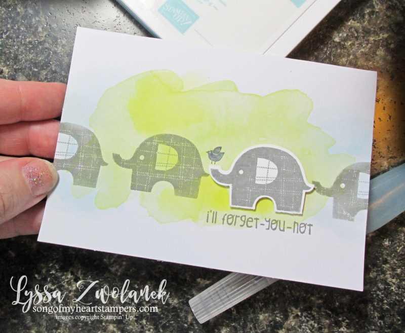 Little watercolored elephants background technique punch art stampin up aquapainters
