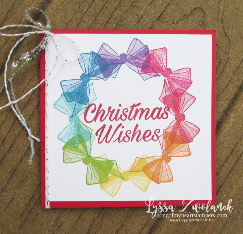 Wishing well organdy bow wreath stampin up rubber stamps cardmaking DIY cards handmade