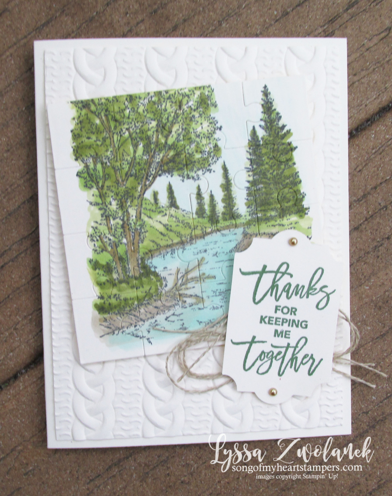 Love pieces puzzle stampin up rubber stamps scenic thank you card DIY cardmaking