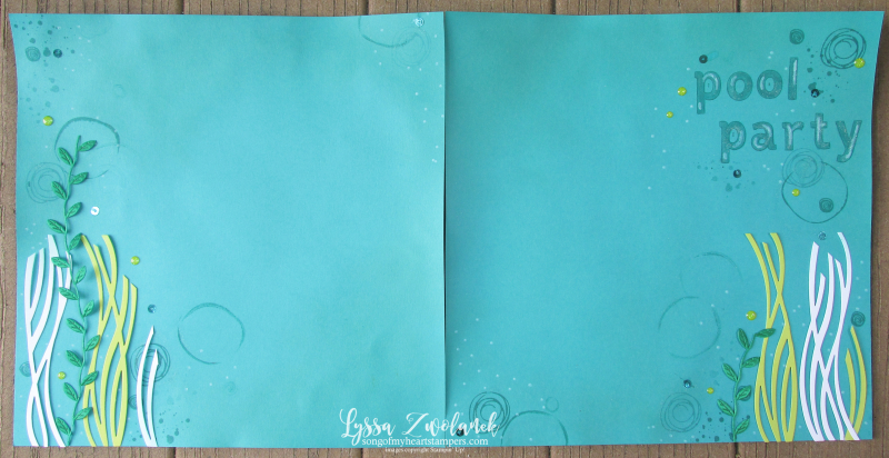 Seaweed under the sea scrapbook layout pool ocean mermaid Stampin Up 12x12 layout