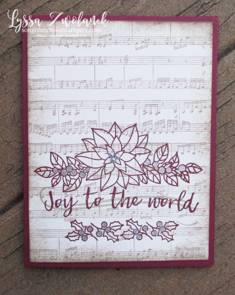 Peaceful poinsettia christmas holiday sheet music rubber stamps hymn joy world Stampin Up