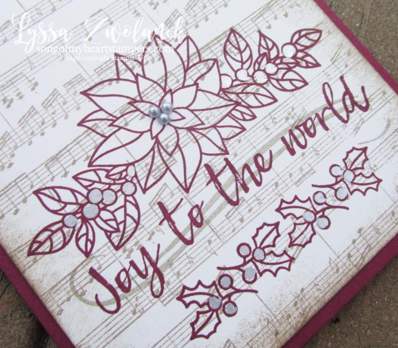 Peaceful poinsettia christmas holiday sheet music rubber stamps DIY joy world Stampin Up