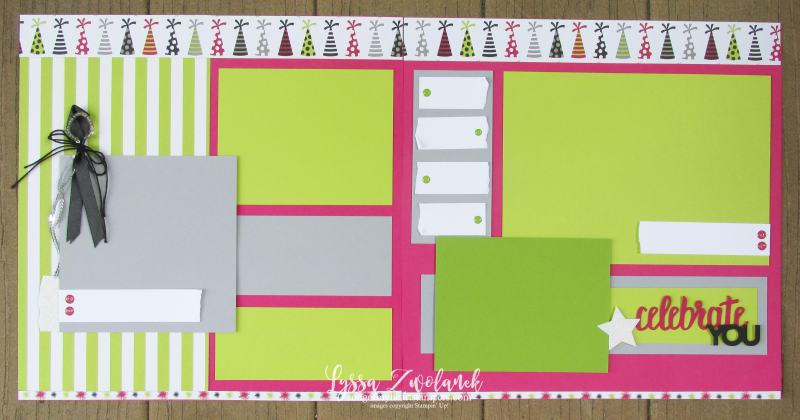 Broadway bound paper Stampn Up scrapbook layout spread birthday Sizzix 12x12 Lyssa
