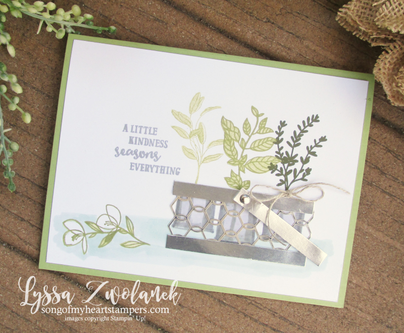 Seasoned with Kindness Stampin Up stamp rubber stamping DIY cardmaking herbs chicken wire baskets garden