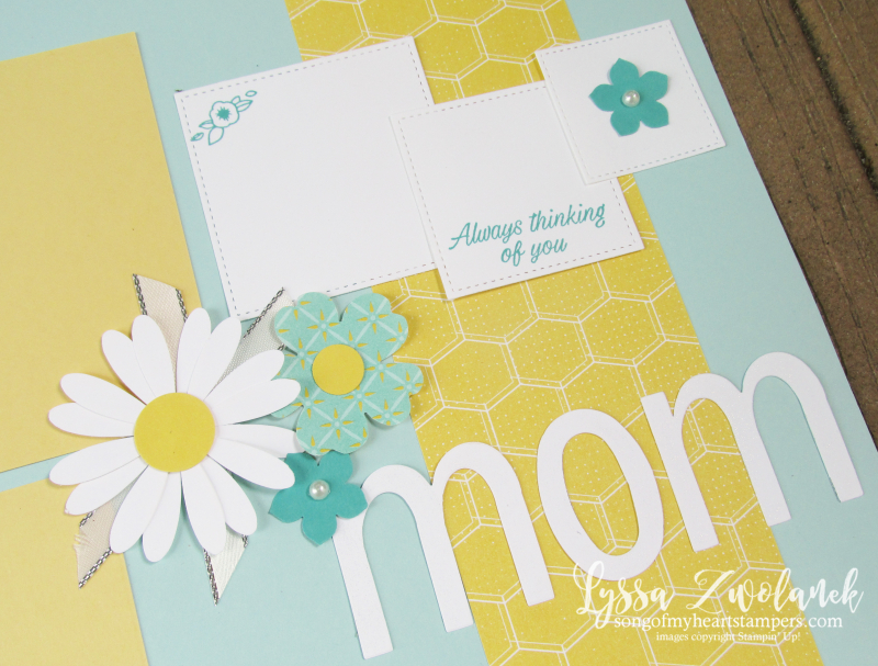 Mom love daisy pansy punc art pages stampin up scrapbooking layout Lyssa doily