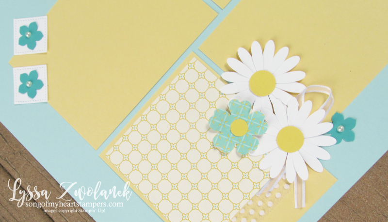 Mom love daisy pansy punch art pages stampin up scrapbooking layout Lyssa doily