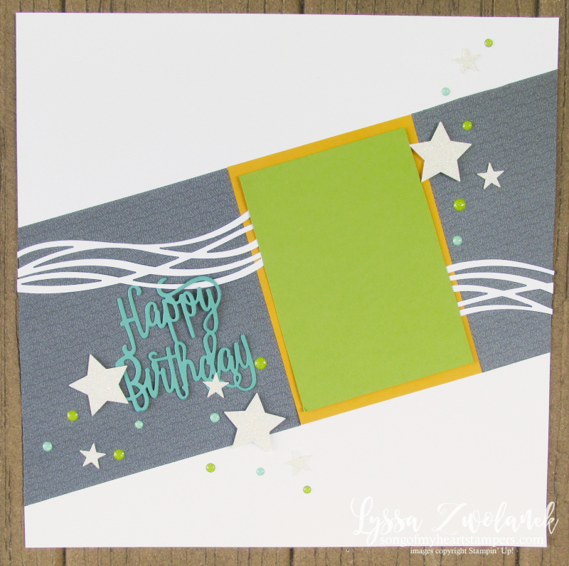 Diagonal birthday scrapbook layout Stampin Up swirly scribbles sizzix thinlets pages 12x12
