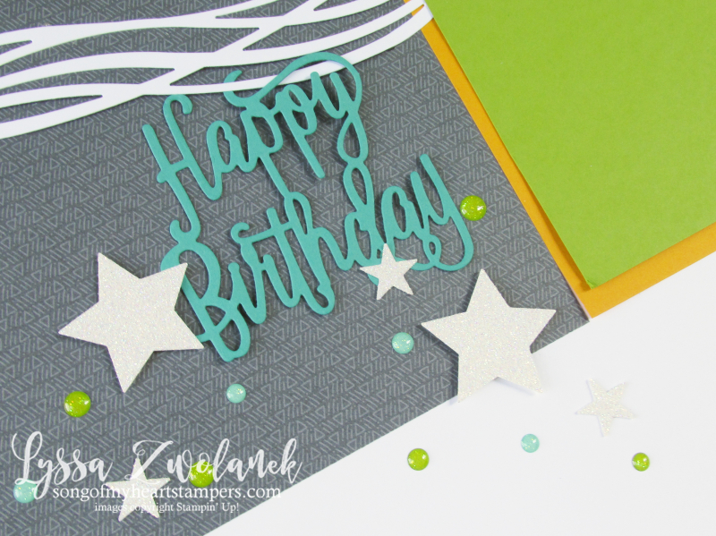 Diagonal birthday scrapbook layout Stampin Up swirly scribbles sizzix thinlets stars 12x12