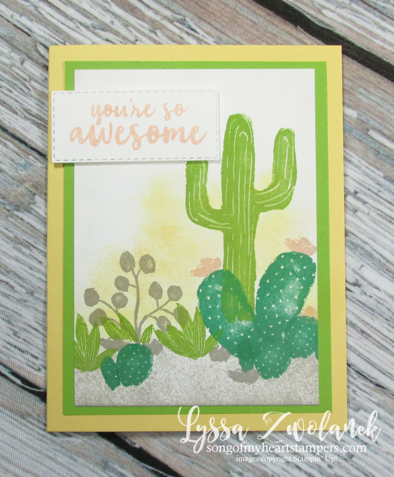 Cactus succulent rock garden stamps Stampin' Up prickly pear flowering desert western stamps