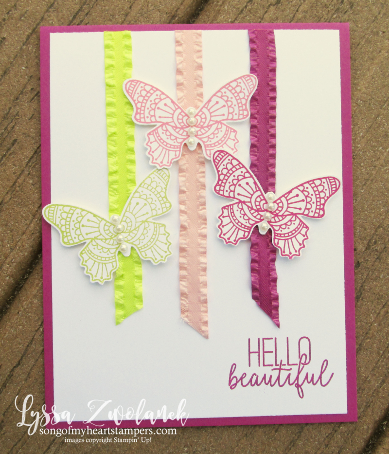 Butterfly gala punch bundle stamps Stampin Up butterflies tutorial class Lyssa cardmaking ribbon