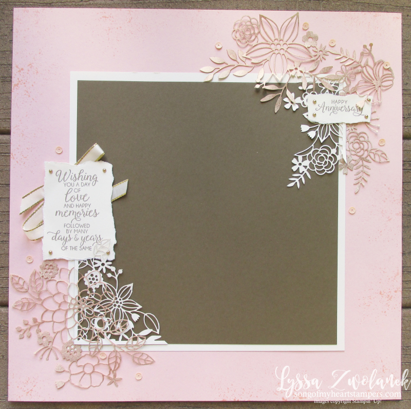 Delightfully detailed lace laser cut 12x12 sheets layout scrapbook Lyssa Stampin up