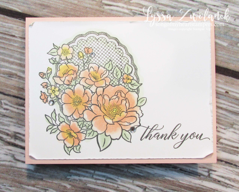 Lovely lattice Stampin Up roses stamps Lyssa SAB SaleABration doily lace wedding DIY thankyou