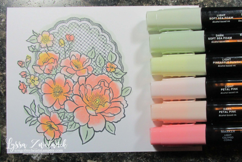Lovely lattice Stampin Up roses stamps Lyssa SAB SaleABration doily lace wedding colors