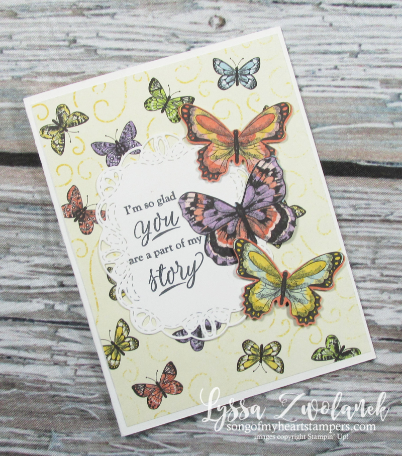 Butterfly DSP gala paper 12x12 scrapbook SAB free Stampin up butterflies layout saleabration stationery Lyssa