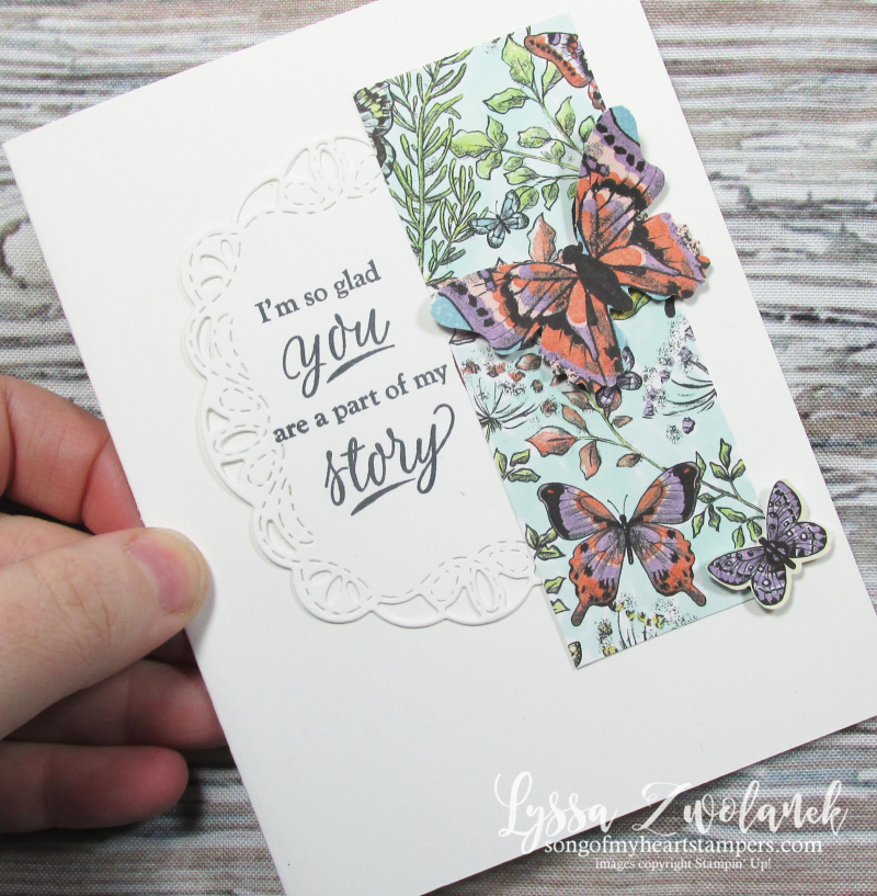 Butterfly DSP gala paper 12x12 scrapbook SAB free Stampin up butterflies simple stamping Lyssa