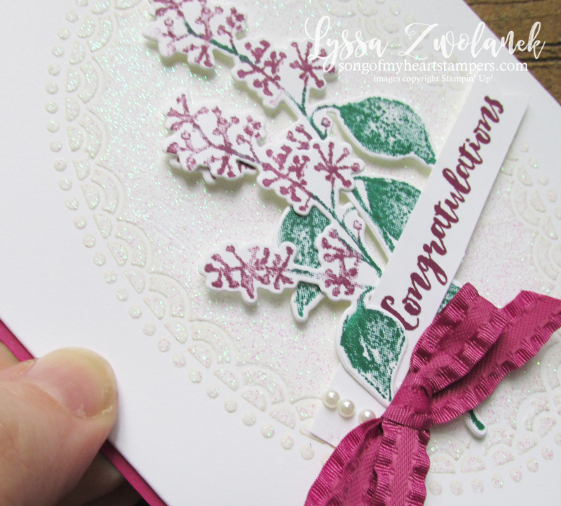 First frost frosted floral bouquet Stampin Up holiday cards holly winter embossing paste lace