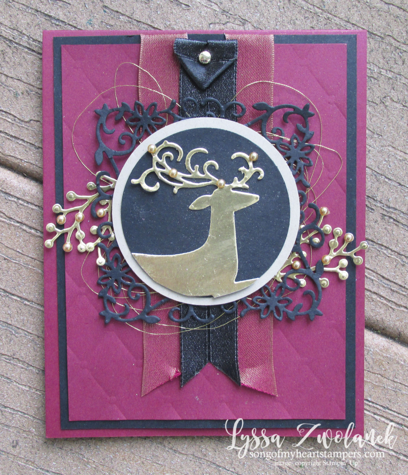 Dashing Deer detailed thinlets sizzix Stampin Up christmas holiday card victorian tufted embossing folder