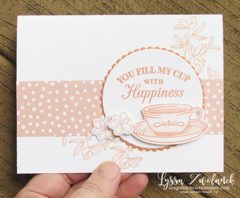 Teacup tea party Stampin Up DIY cardmaking tutorial Lyssa lace