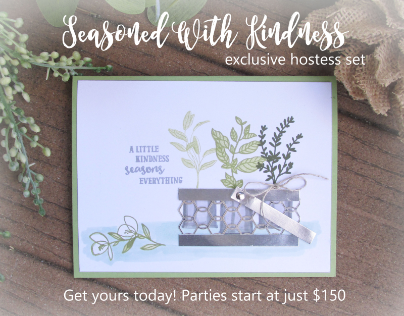 Seasoned with Kindness Stampin Up stamp rubber stamping DIY cardmaking herbs chicken wire basket garden