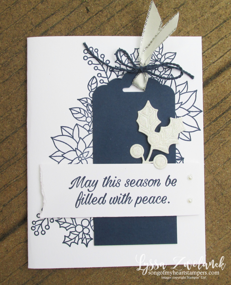 Poinsettia perfect peaceful navy christmas holiday cardmaking easy stampin up sizzix