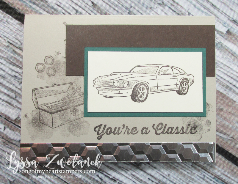 Classic car garage chrome hexagons embossing folder mechanic Stampin Up