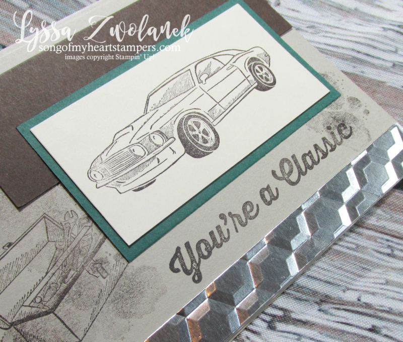 Classic car garage chrome hexagon embossing folder mechanic Stampin Up