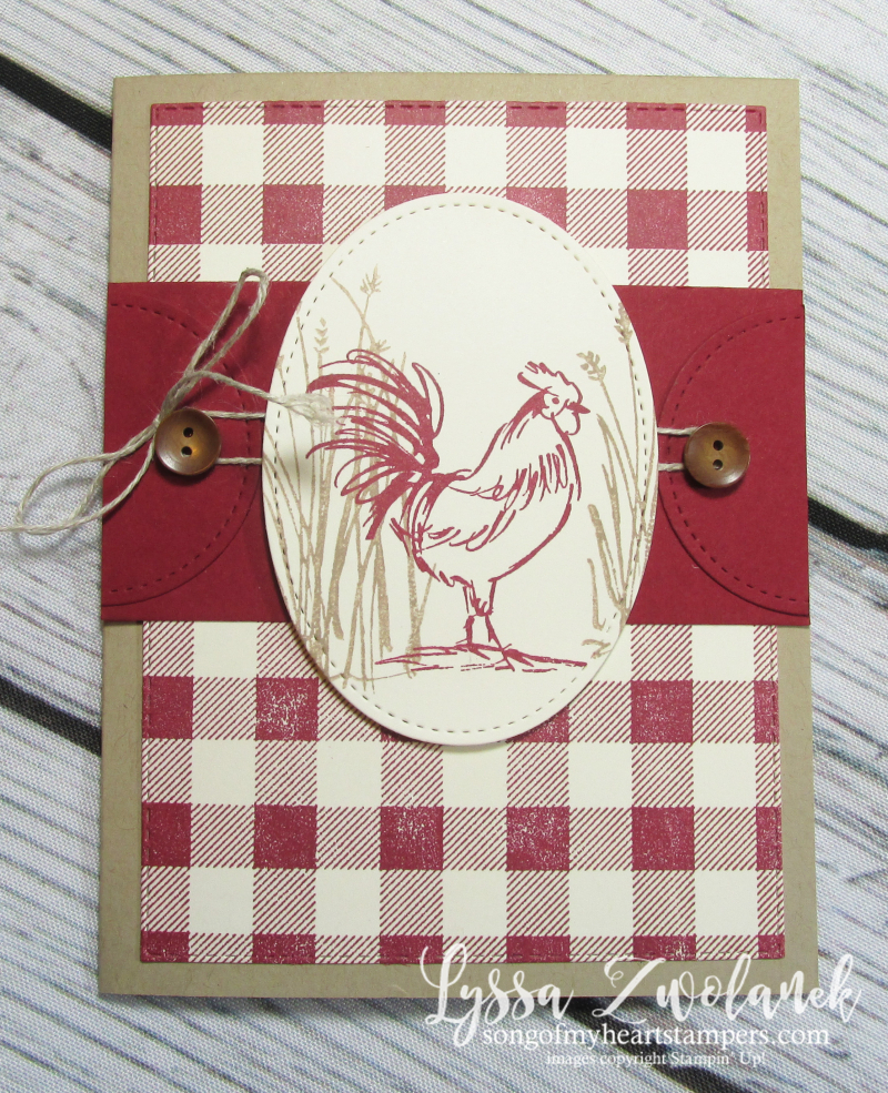 Rooster chicken farm fresh stampin up rubber stamps barn buffalo plaid check hen