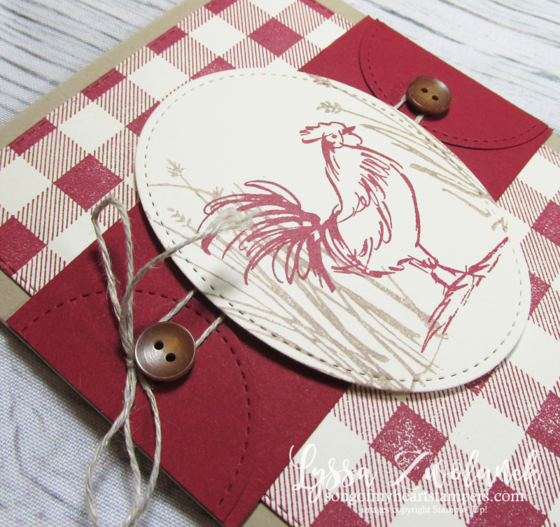Rooster chicken farm fresh stampin up rubber stamps barn buffalo plaid gingham hen