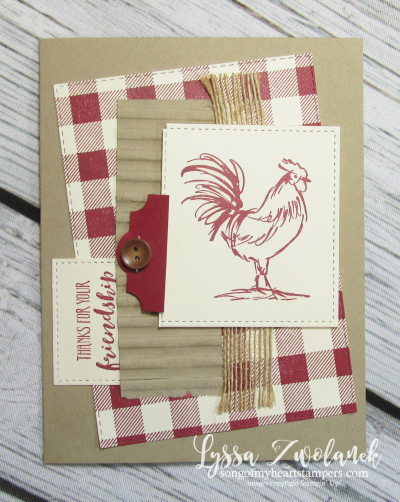 Rooster hen chicken stamps Stampin up farmhouse barn plaid check burlap background