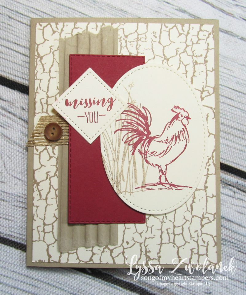 Rooster hen chicken stamps Stampin up farmhouse barn crackle buffalo plaid check