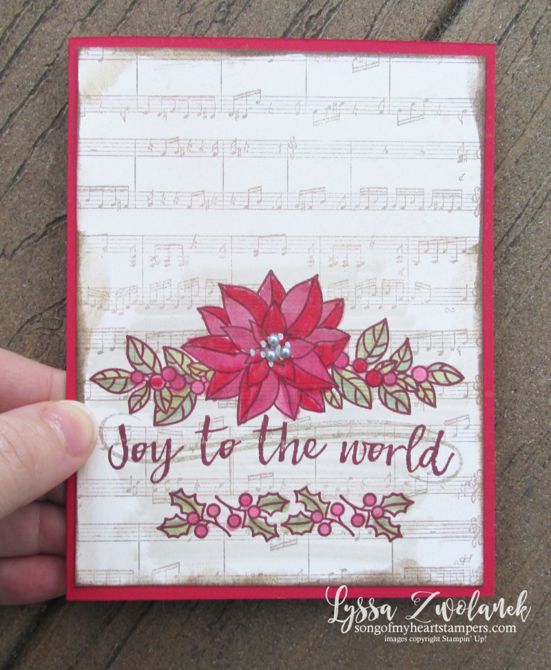 Peaceful poinsettia christmas holiday sheet music rubber stamps carol joy world Stampin Up