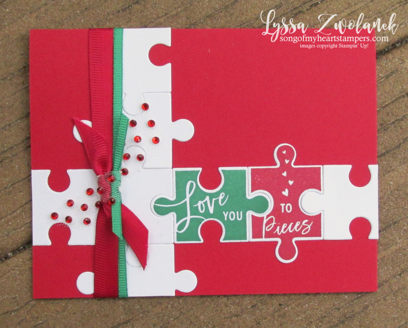 Love pieces puzzle stampin up rubber stamps Christmas holiday card DIY cardmaking