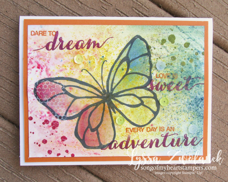 Brusho butterfly beautiful day mixed media stampin up sequins rainbow watercolor card medium Lyssa