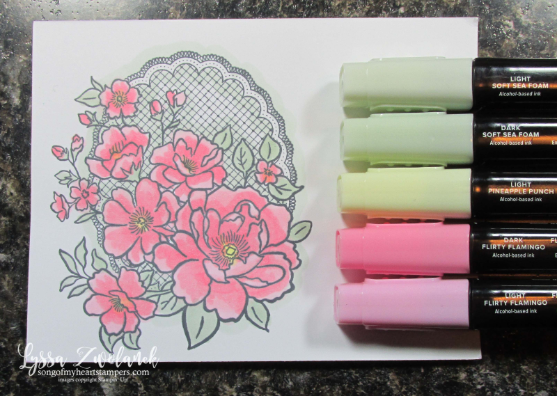 Lovely lattice Stampin Up roses stamps Lyssa SAB SaleABration doily lace simple wedding colors