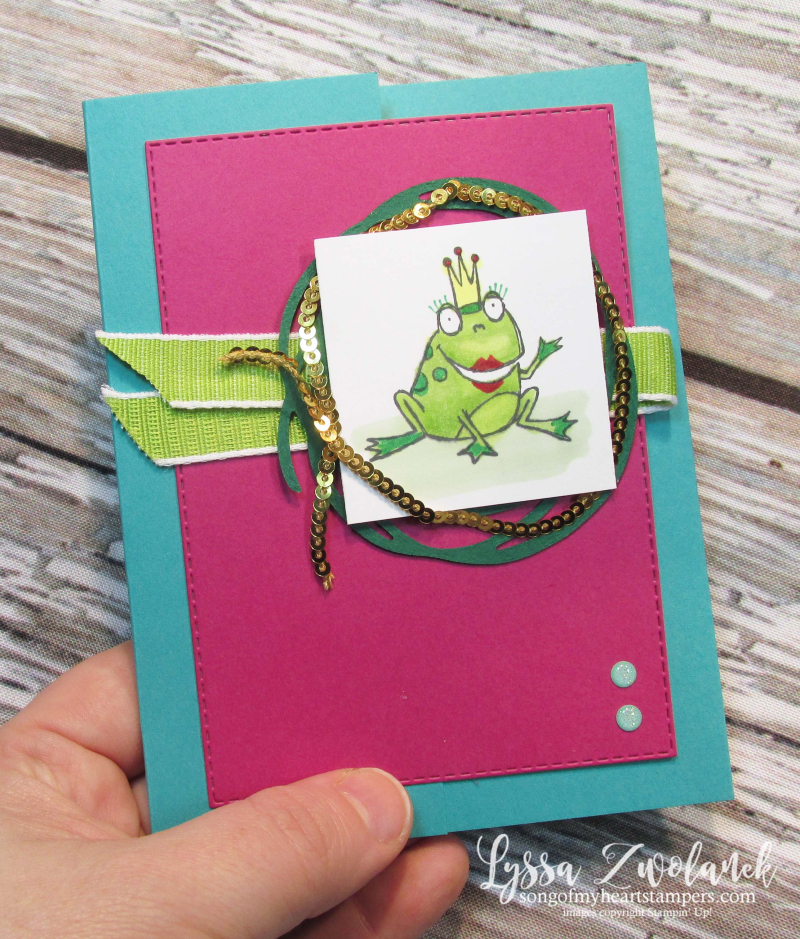Hoppy for you hoppity stampin up frog prince princess birthday card DIY cardmaking