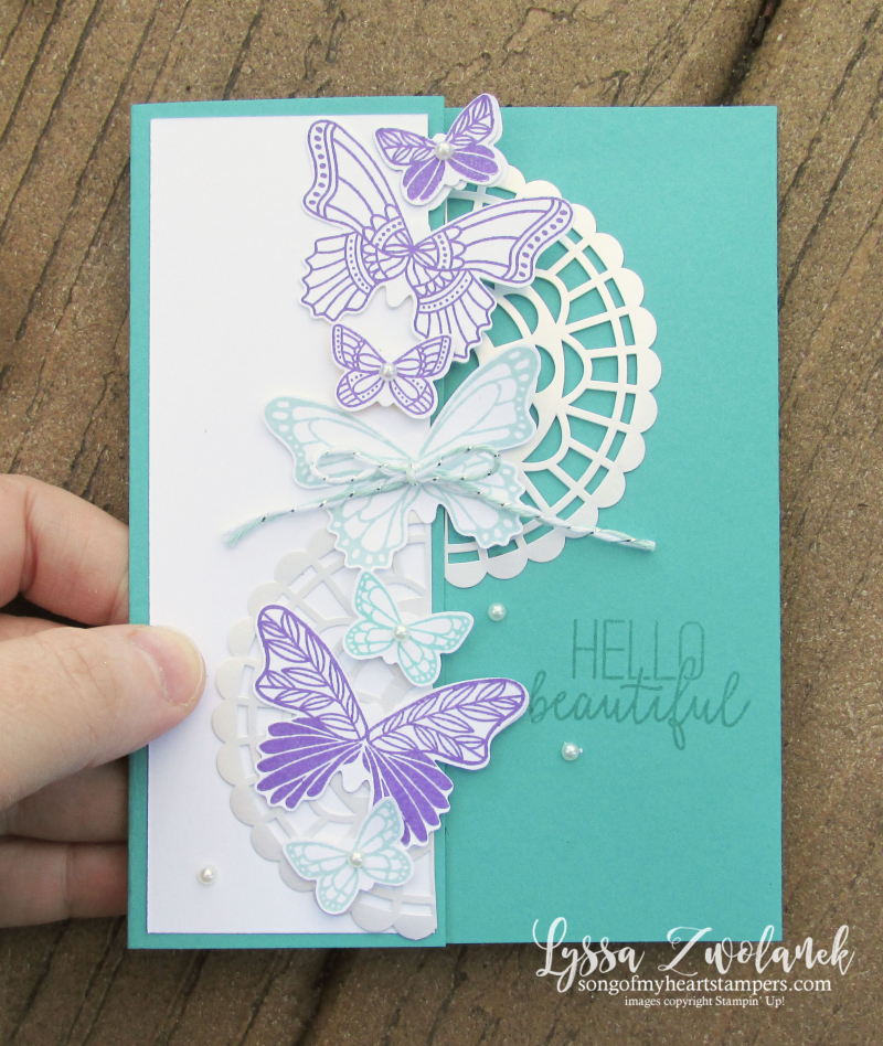 Butterfly gala punch bundle stamps Stampin Up butterflies tutorial class Lyssa gift card holder