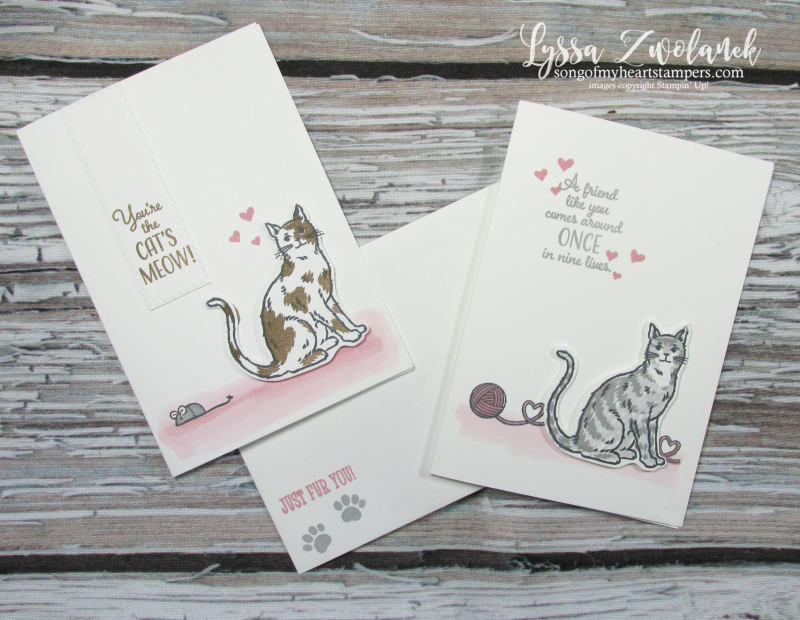 Nine Lives cat punch stampin up kitties yarn paw prints mouse stamps